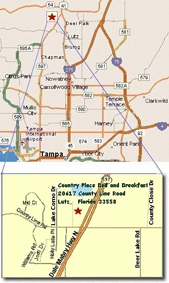Map showing location of Country Bed and Breakfast in Lutz, Florida